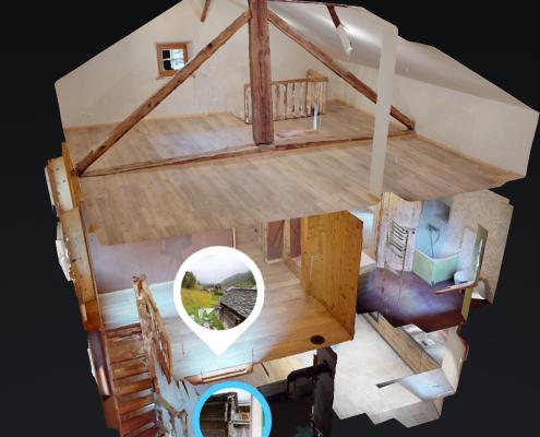 """Vue """"maison de poupée"""" dans une visite virtuelle 360 degrés de 3D Swiss View, Valais, Vaud, Genêve, Suisse"""