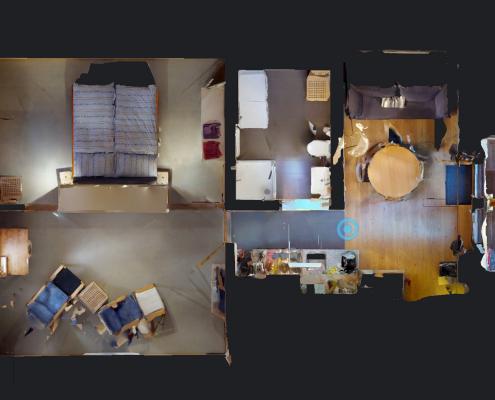 Vue en plan d'une visite virtuelle 360 degrés de 3D Swiss View, Montreux, Vaud, Suisse
