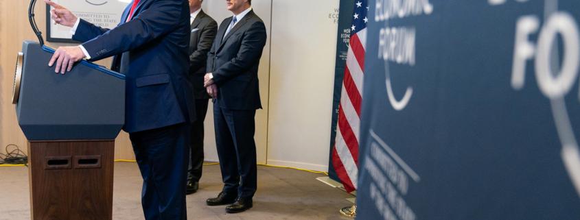 """Monsieur le Président Donald Trump au FED - Forum économique de Davos en janvier 2020 - image d'illustration pour le blog de 3D Swiss View à Martigny """"Forum Economique de Davos, Location saisonnière et visite virtuelle 360° degrés"""""""