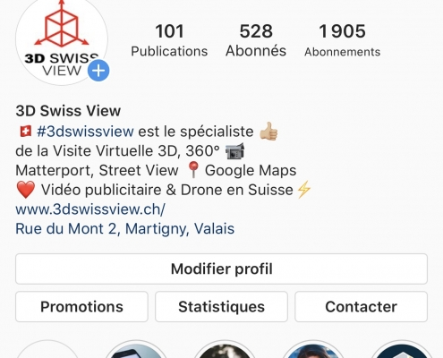 Capture de la page Instagram de 3D Swiss View à Martigny