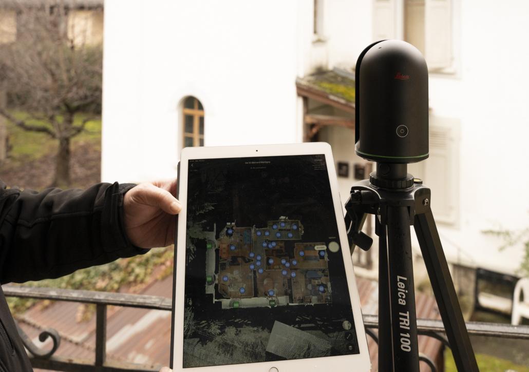 Laser scan Leica BLK 360 avec la numérisation sur la tablette Ipad