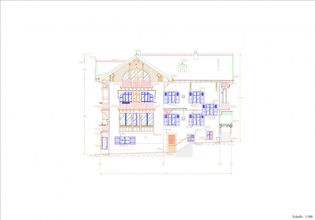 Plan de façade d'une maison à Chesière depuis le relevé par numérisation par laser scan