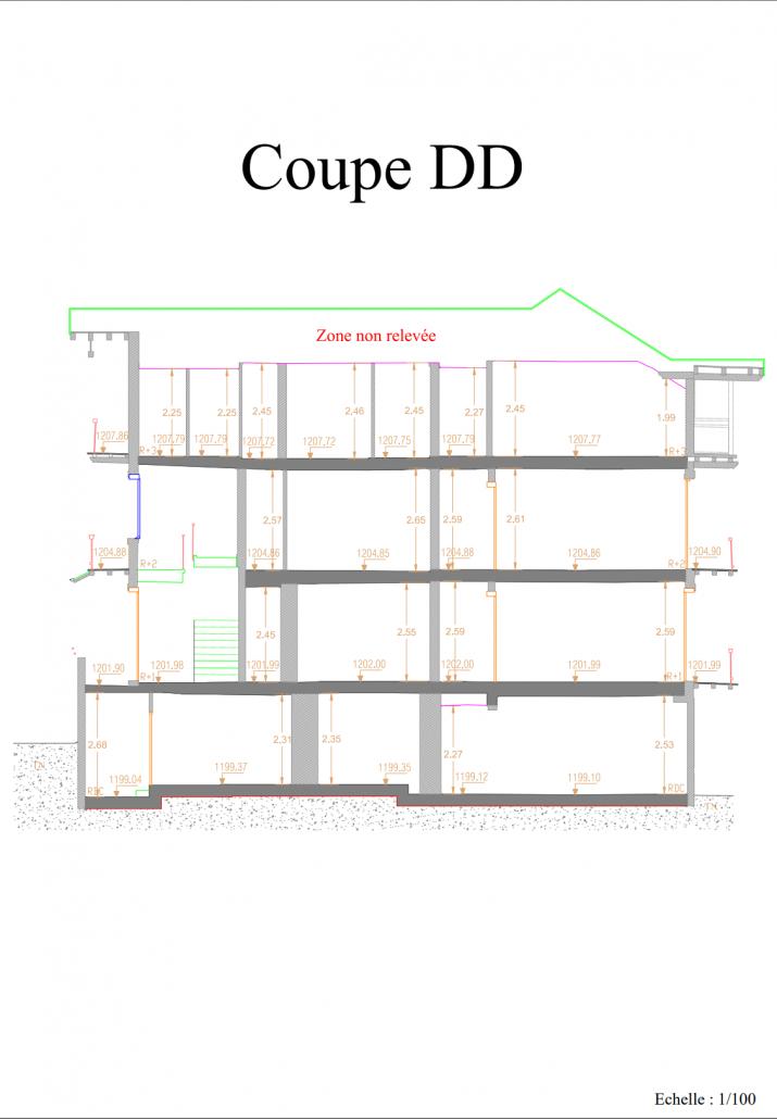 Plan de coupe simple d'un immeuble à Villars-sur-Ollon après numérisation d'un immeuble par laser scan