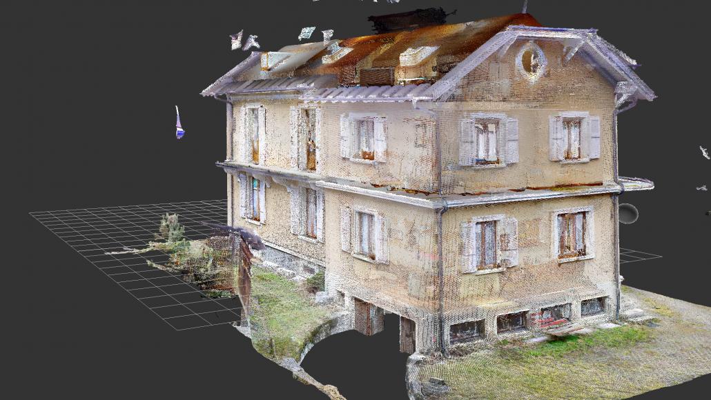 Exemple d'une maison en nuage de points (Digital Twin)